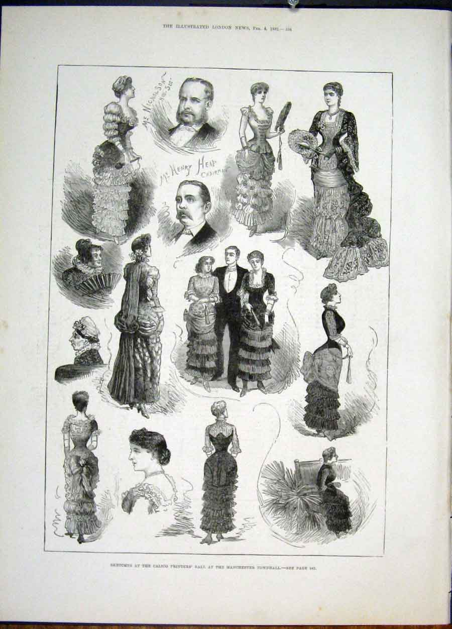 Print Sketches Calico Ers Ball Manchester Townhall 1882 04Maa0 Old Original