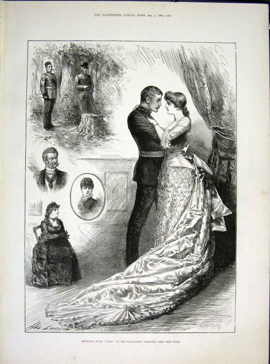 Print Sketches Ours Haymarket Theatre London 1882 05Maa0 Old Original