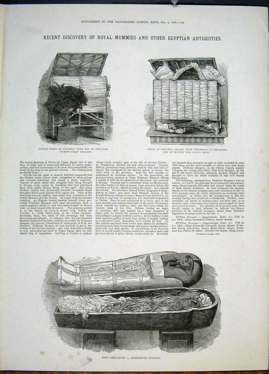 Print Royal Mummies Egyptian Relics Dynasty Mummy Egypt 1882 13Maa0 Old Original