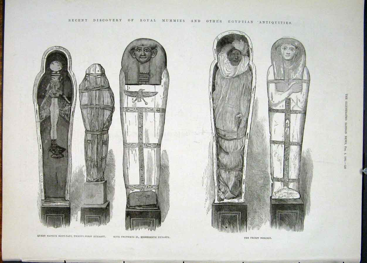 Print Royal Mummies Egyptian Relics Egypt King Queen Priest 20Maa0 Old Original