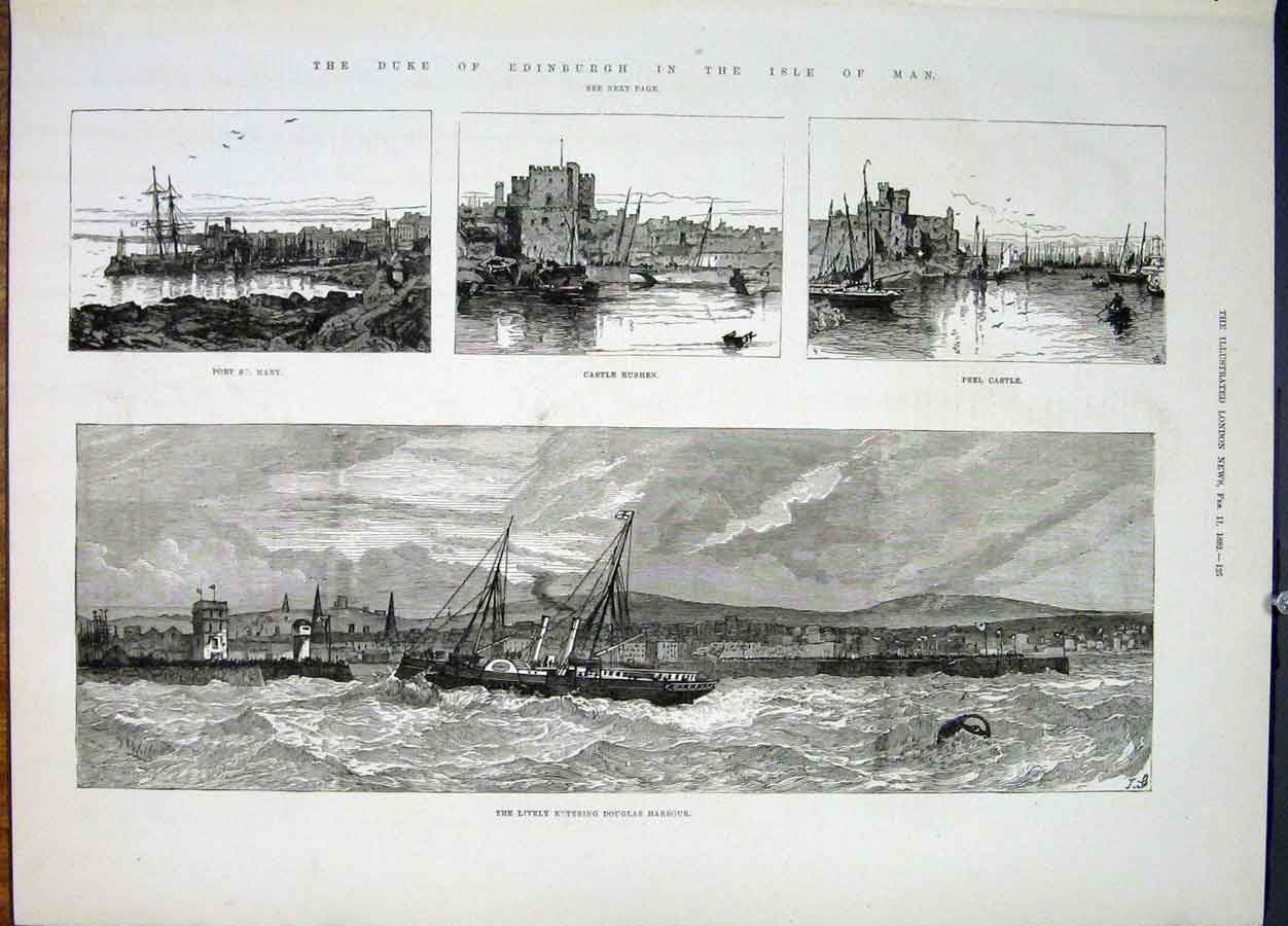 Print Isle Man Duke Edinburgh Castle Rushen Dougla Harbour 25Maa0 Old Original