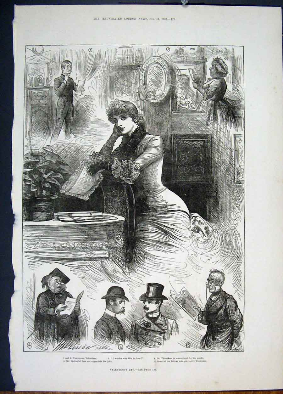 Print Valentine'S Day Valentines Lady Sketches 1882 29Maa0 Old Original