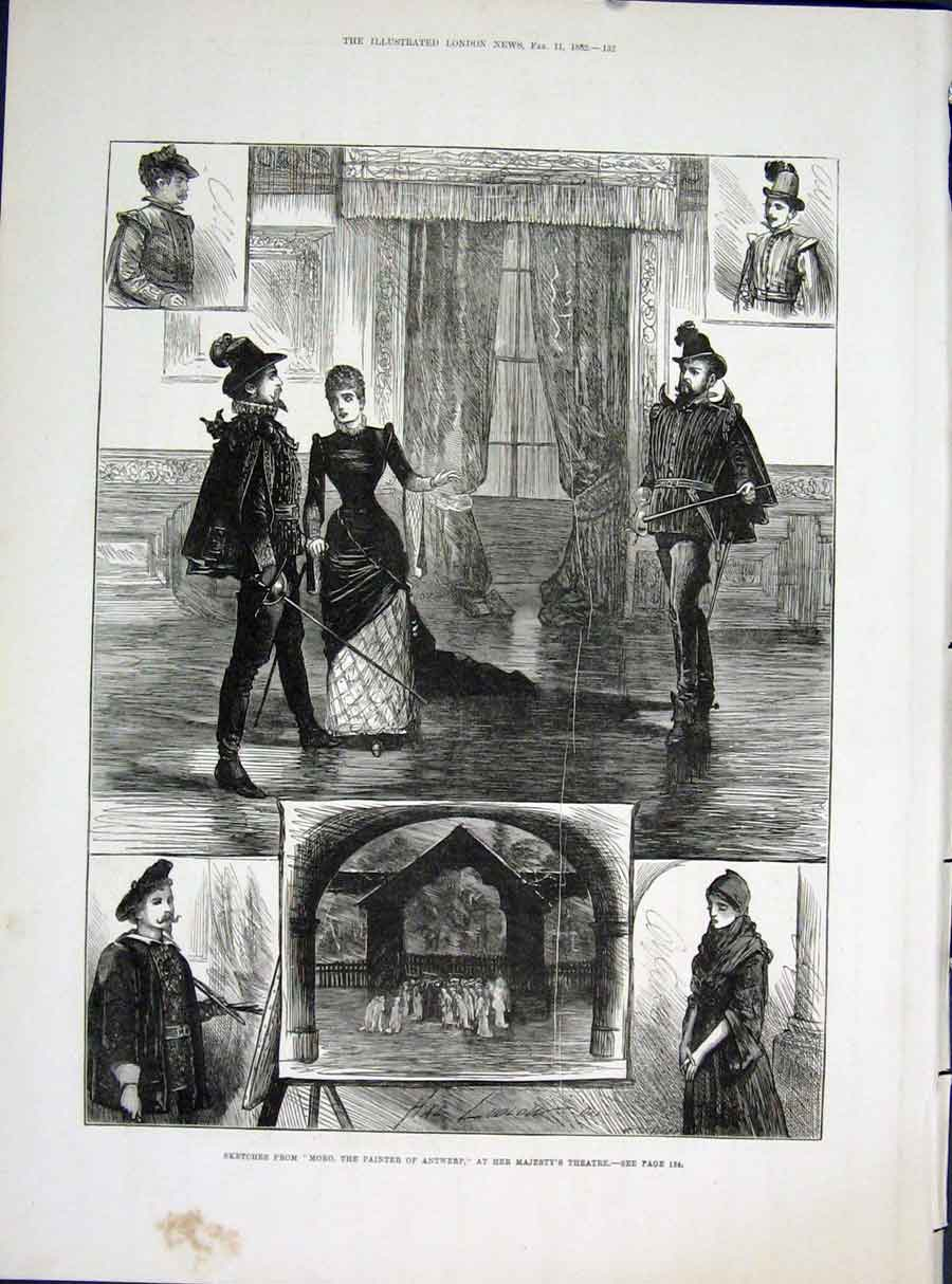 Print Her Majesty'S Theatre London Sketches Moro Antwerp 1882 32Maa0 Old Original