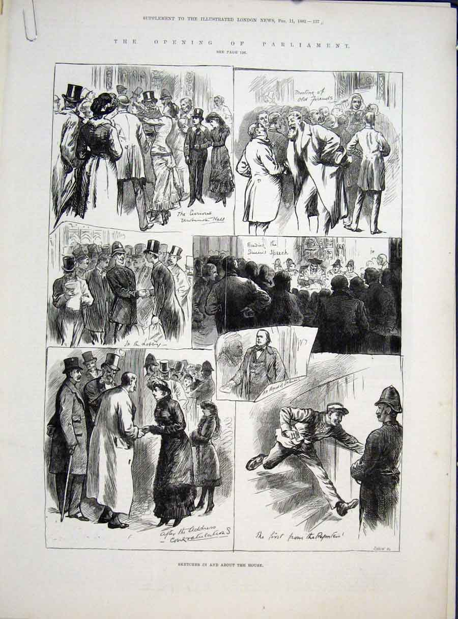 Print Sketches House Parliament London Lords Commons 1882 37Amaa0 Old Original