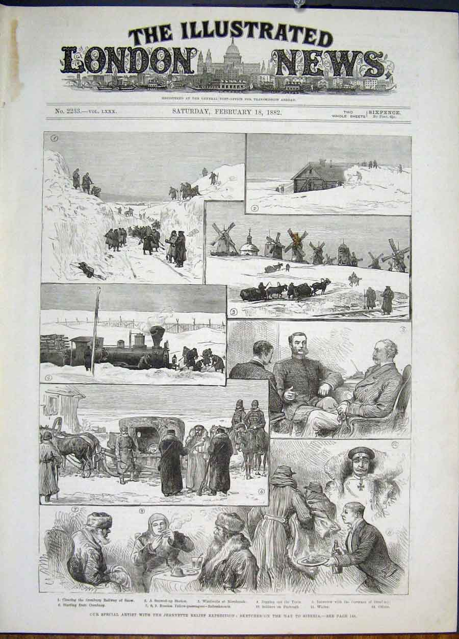 Print Jeannette Relief Expedition Sketches Siberia 1822 46Maa0 Old Original