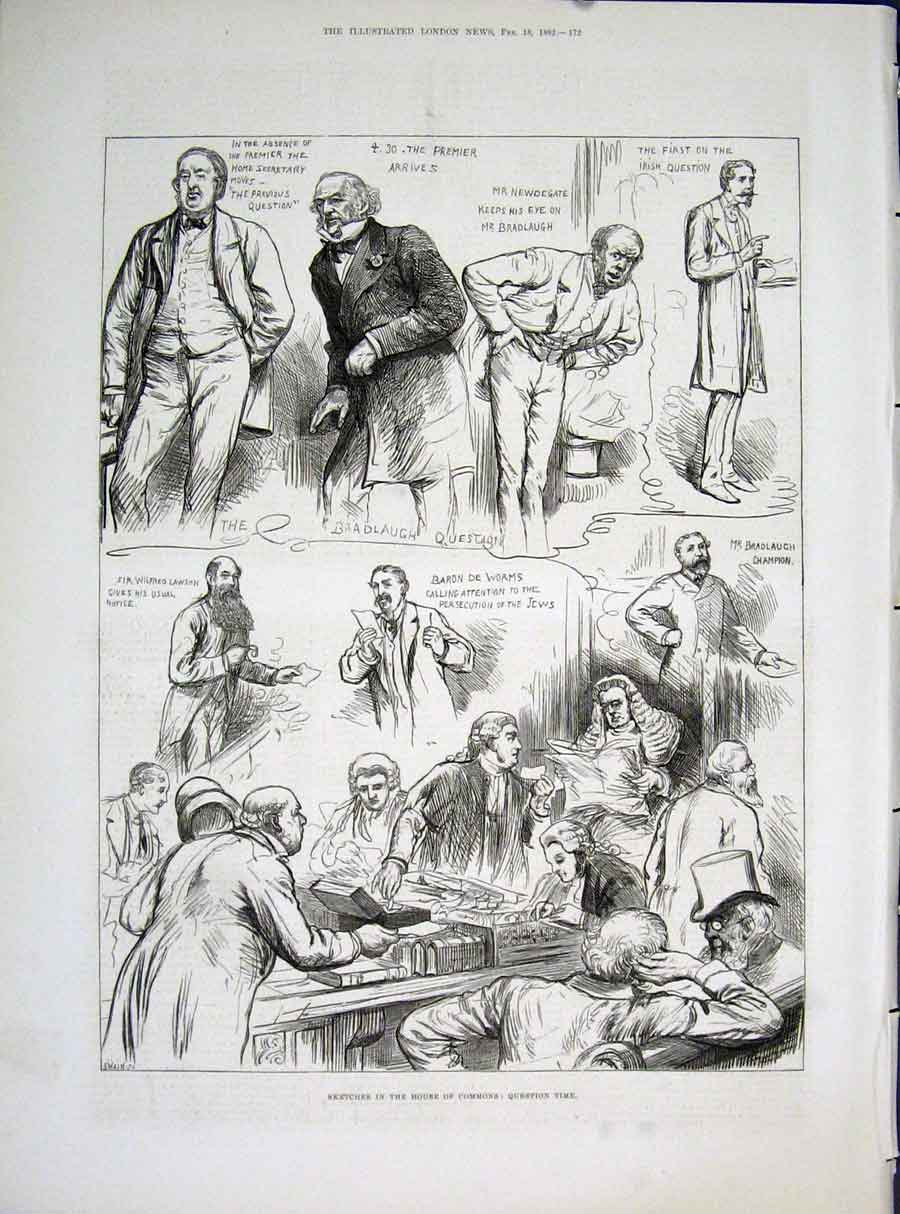 Print House Commons Sketches London 1882 72Maa0 Old Original