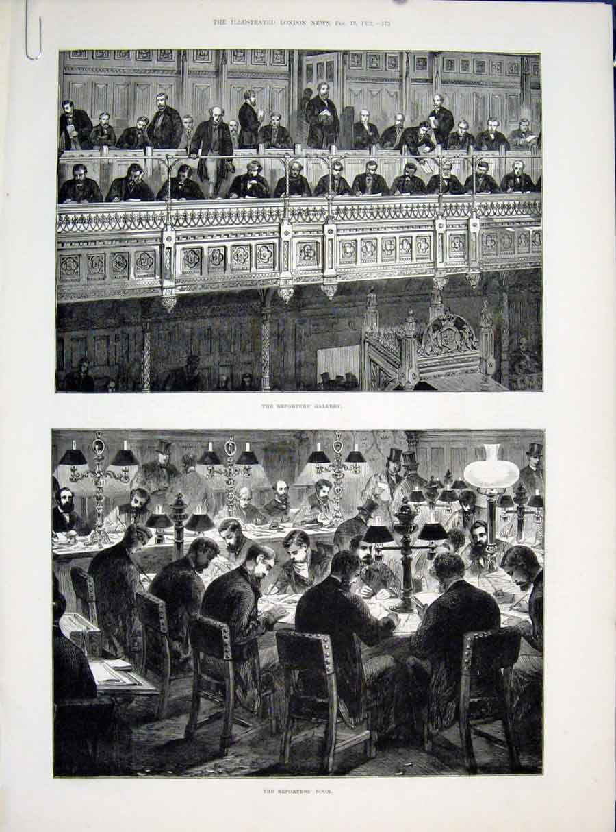 Print Reporters Gallery Parliament London House Commons 1882 73Amaa0 Old Original