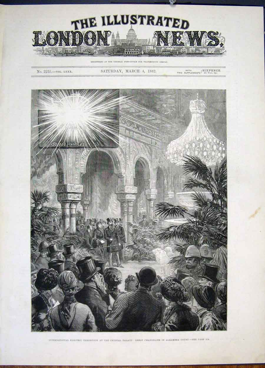 Print Electric Exhibition Crsytal Palace London Chandelier 02Maa0 Old Original