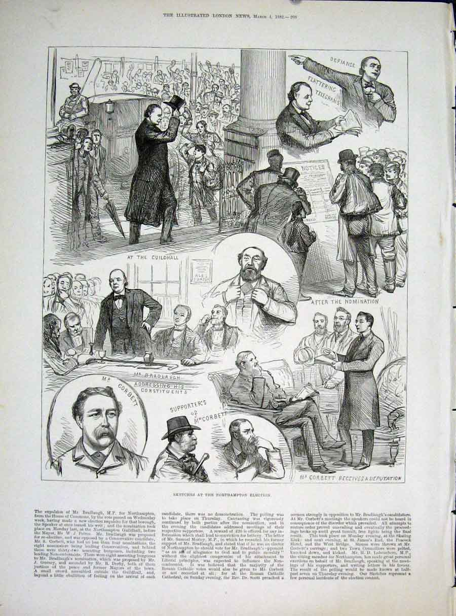 Print Nothampton Election Sketches Guildhall Corbett 1882 08Maa0 Old Original