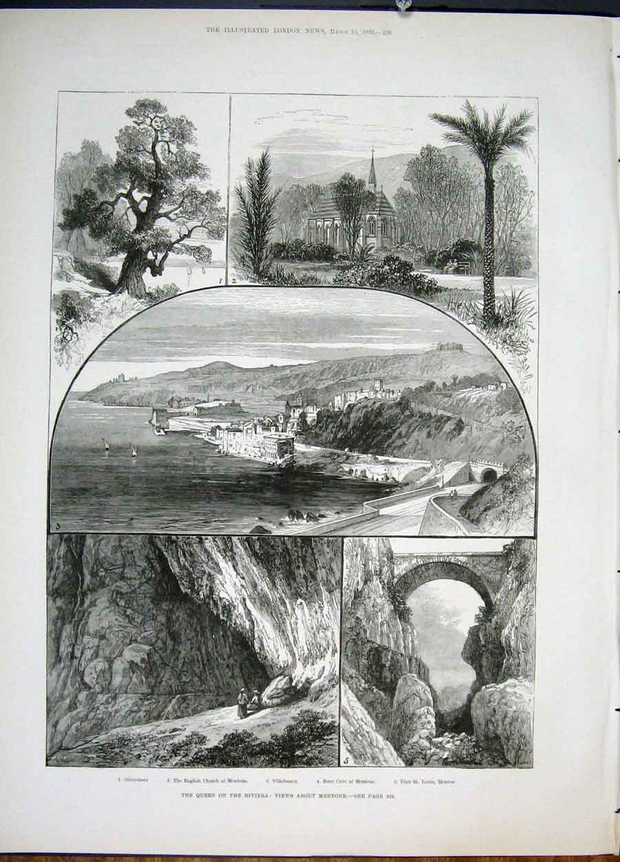 Print Queen Riviera France Mentone Church French 1822 56Maa0 Old Original