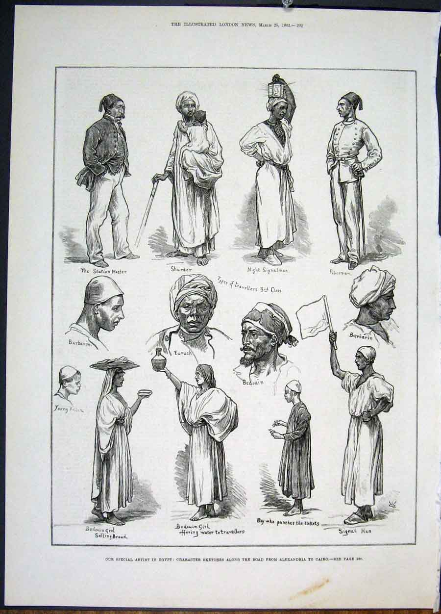 Print Egypt Sketches Character Egyptians Bedouin Cairo 1882 92Maa0 Old Original