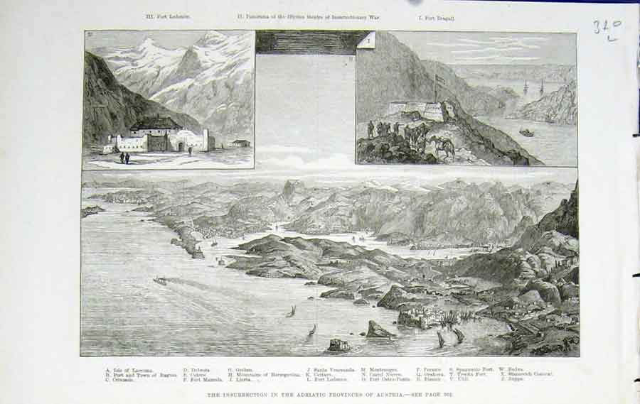 Print Adriatic Provinces Austria Motenegro 1882 20Lmaa0 Old Original