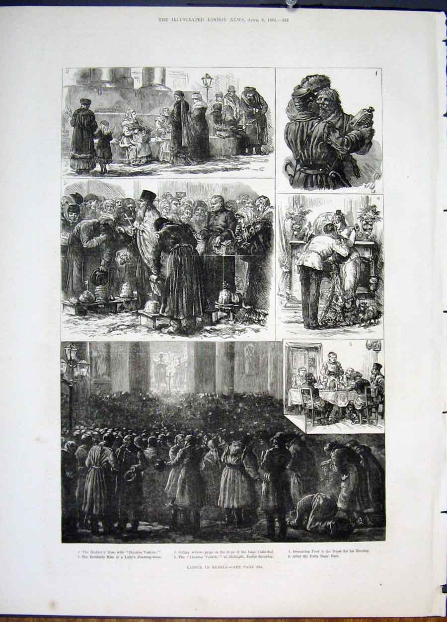 Print Easter Russia Russian Isaac Cathedral Priest 1822 32Maa0 Old Original