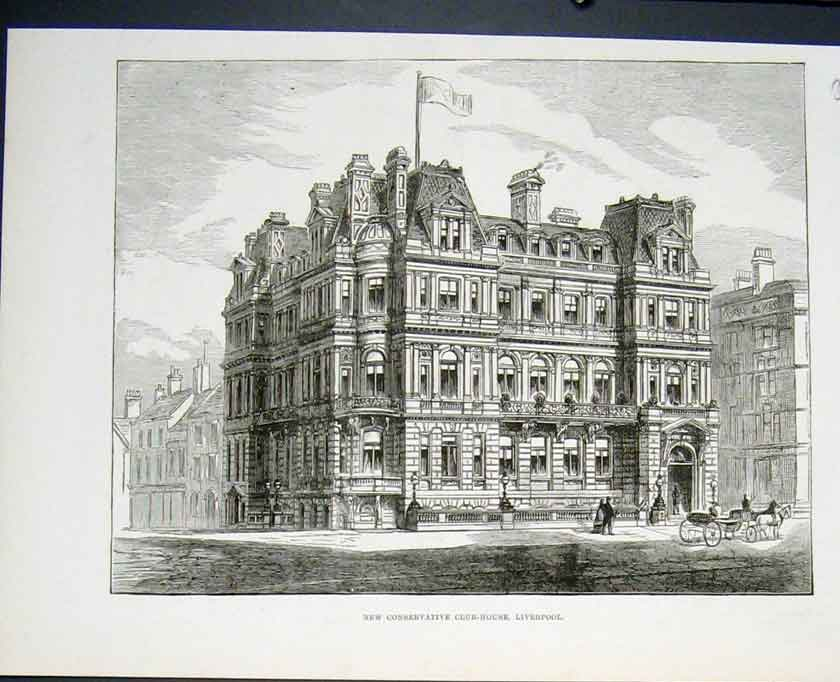 Print New Conservative Club House Liverpool 1882 96Lmaa0 Old Original