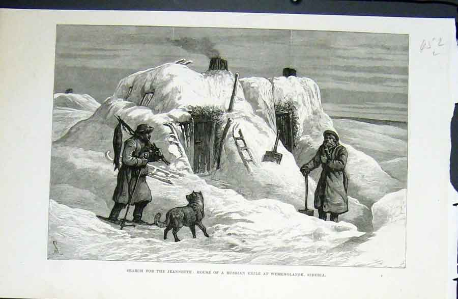 Print Jeannette Russian Exile Werkhaolansk Siberia 1822 52Lmaa0 Old Original