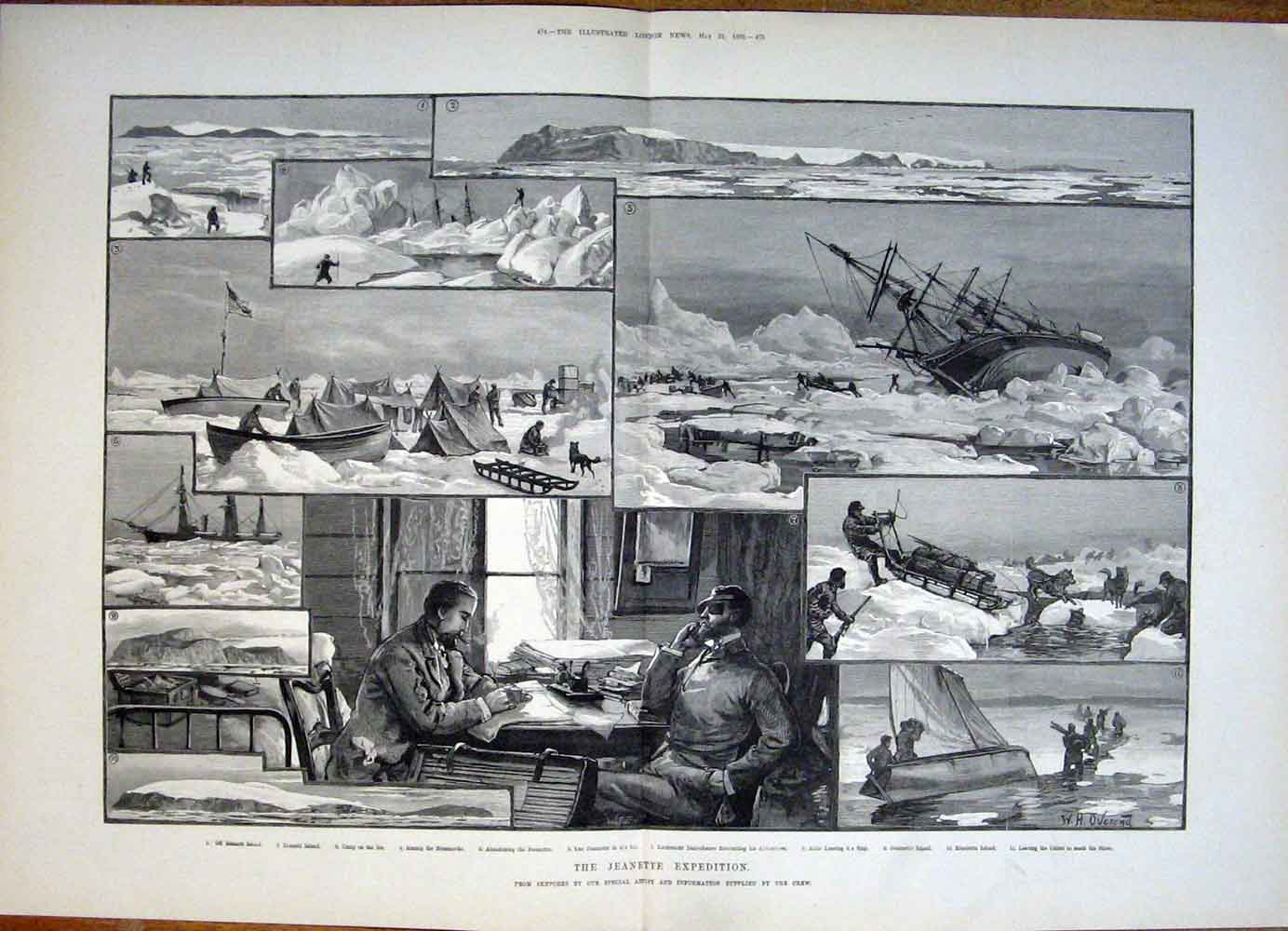 Print Jeannette Expedition Sketches Danenhauer Island 1882 73Tmaa0 Old Original