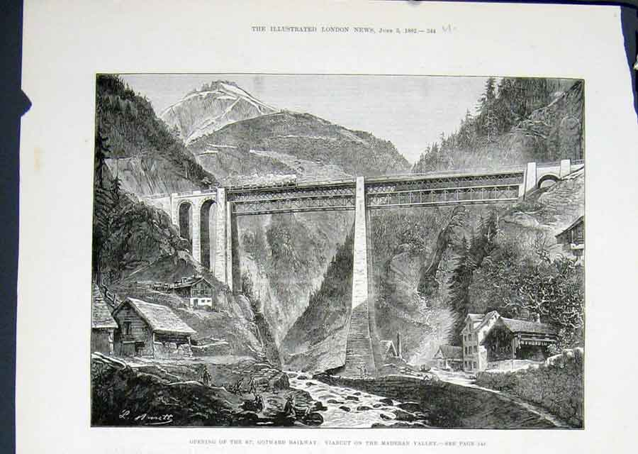 Print St Gothard Railway Viaduct Maderan Valley 1822 44Umaa0 Old Original