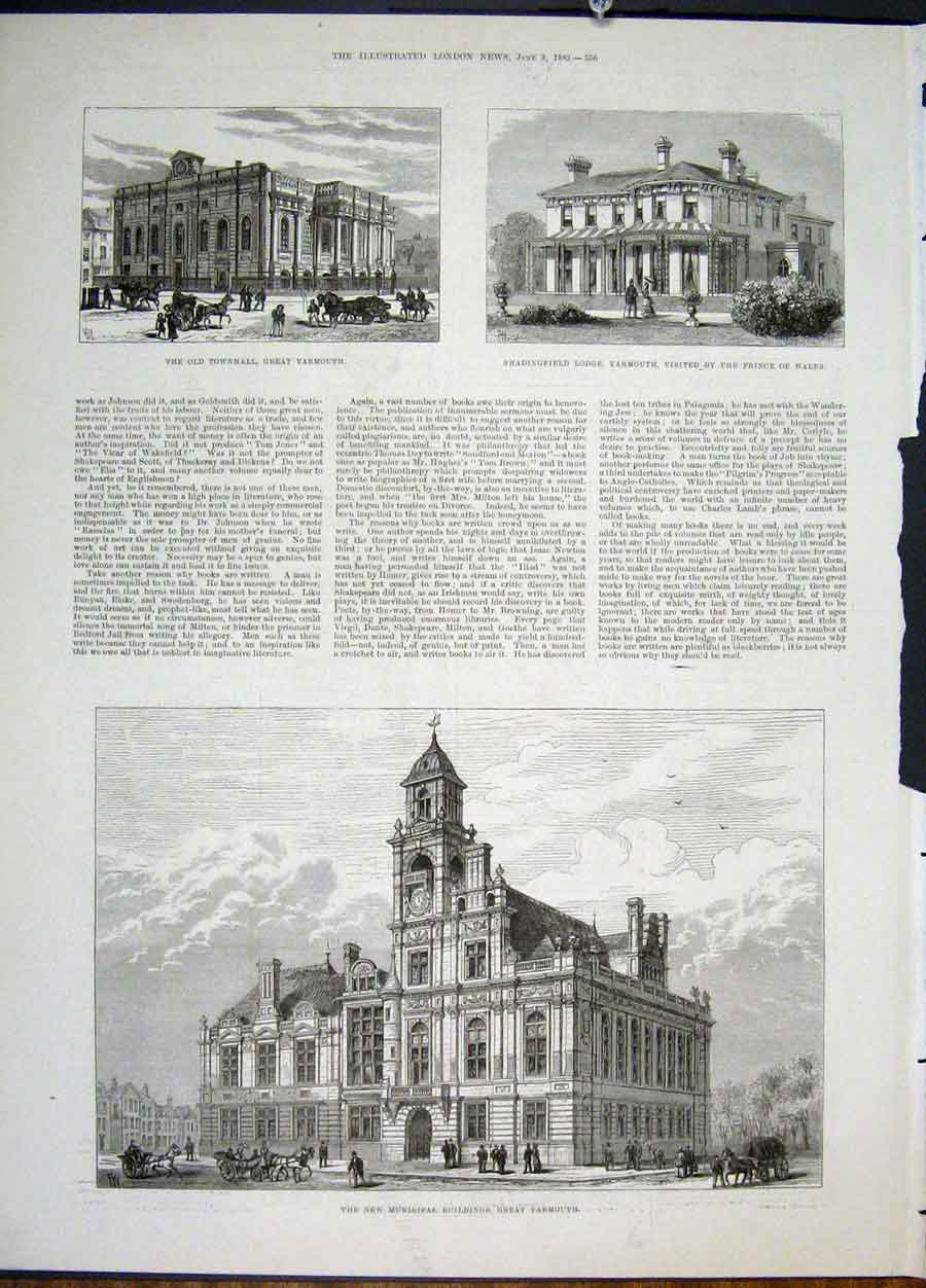 Print Great Yarmouth Townhall Municipal Buildings 1822 56Maa0 Old Original