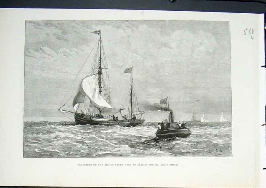 Print Arctic Yacht Kara Leigh Smith Search Boat 1882 68Lmaa0 Old Original