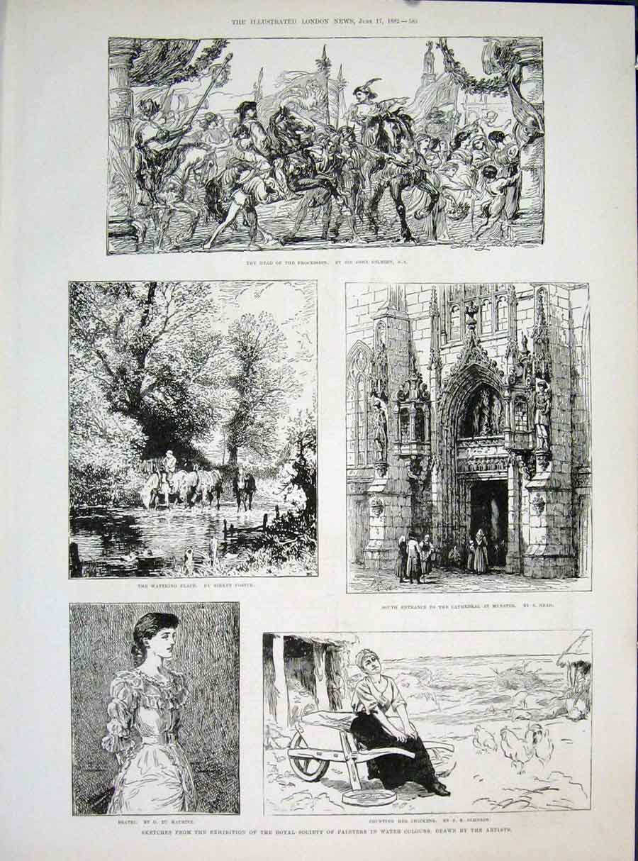 Print Sketches Exhibition Painters Artists Royal Society Art 85Maa0 Old Original