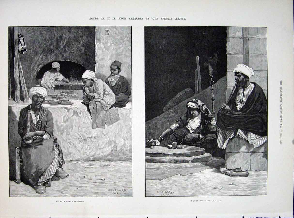 Print Egypt Sketches Montbard Cairo Arab Baker Corn Merchant 00Maa0 Old Original