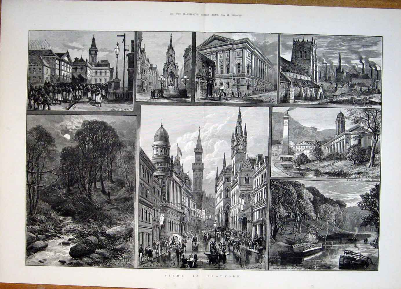 Print Views Bradford Leeds Market Bridge Saltane Mill Church 23Tmaa0 Old Original