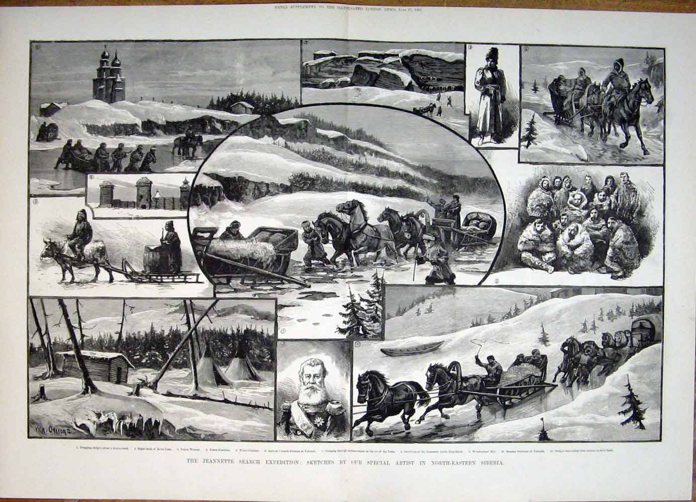 [Print Jeannette Search Expedition Sketches Siberia Russian 01Tmaa0 Old Original]