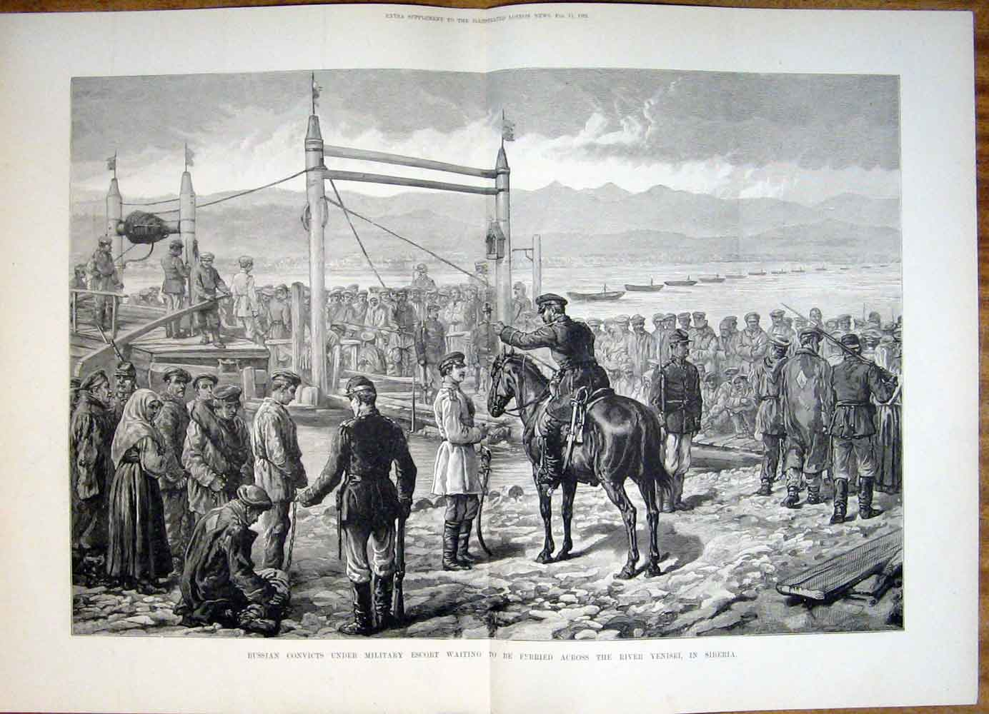 Print Russian Convicts Military Escort River Yenisei Siberia 08Tmaa0 Old Original