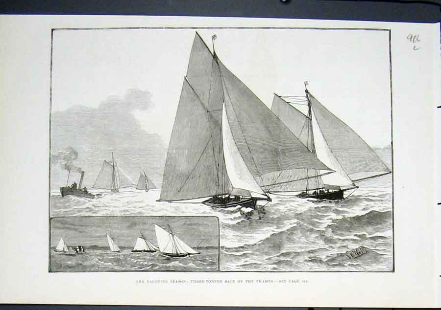 Print Yacht Three Tonner Race Thames River London 1822 16Lmaa0 Old Original
