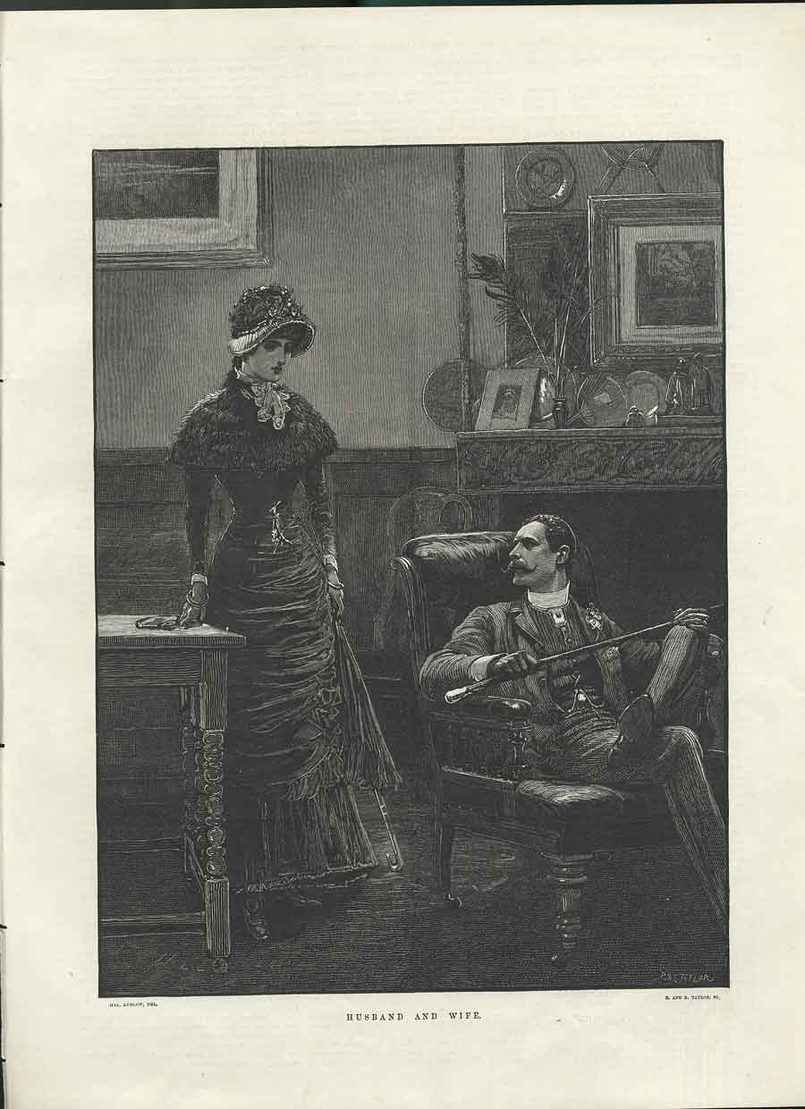 Print Husband Wife Ludlow Taylor Fine Art 1882 26Maa0 Old Original