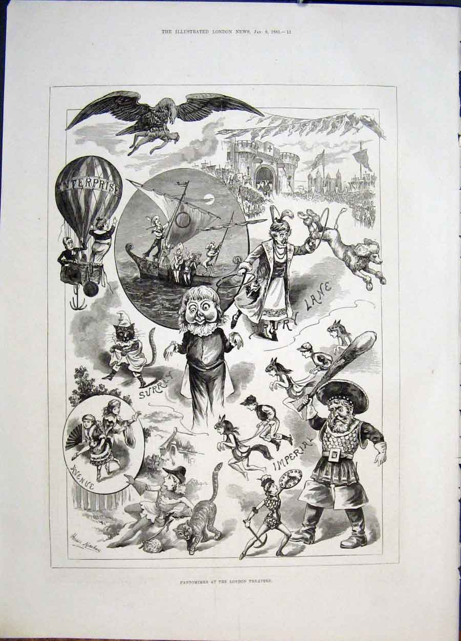 Print Pantomime London Theatres Drury Surrey Imperial Avenue 12Maa0 Old Original
