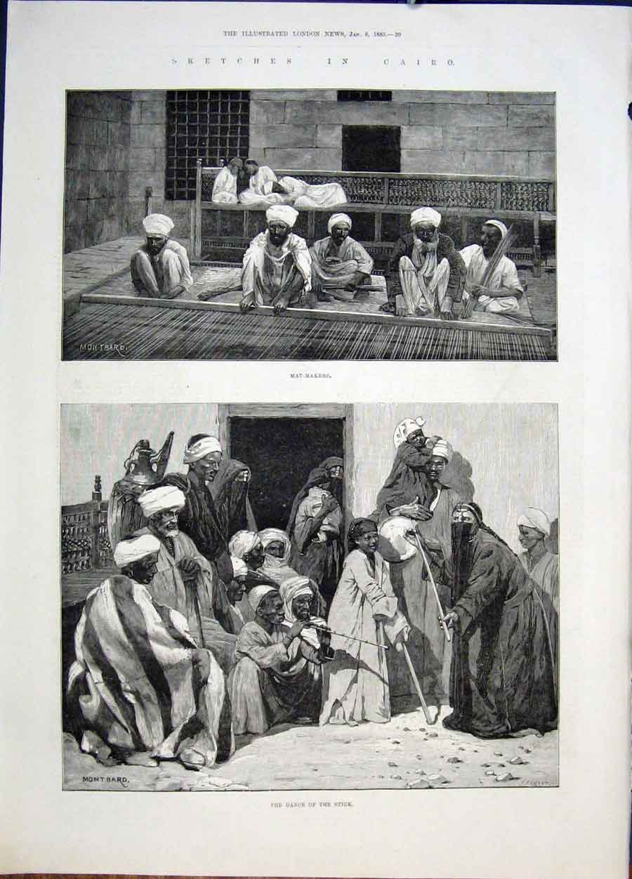Print Skethces Cairo Mat Makers Dance Agypt Africa Montbard 20Maa0 Old Original