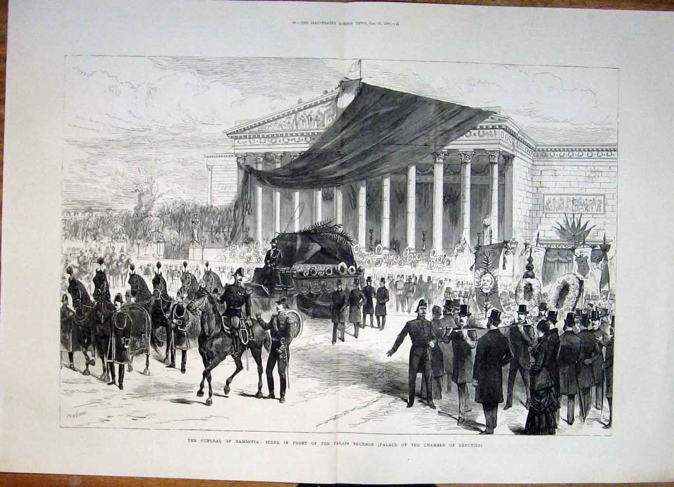Print Funeral Gametta Palais Bourbon Palace Paris France 1883 39Tmaa0 Old Original