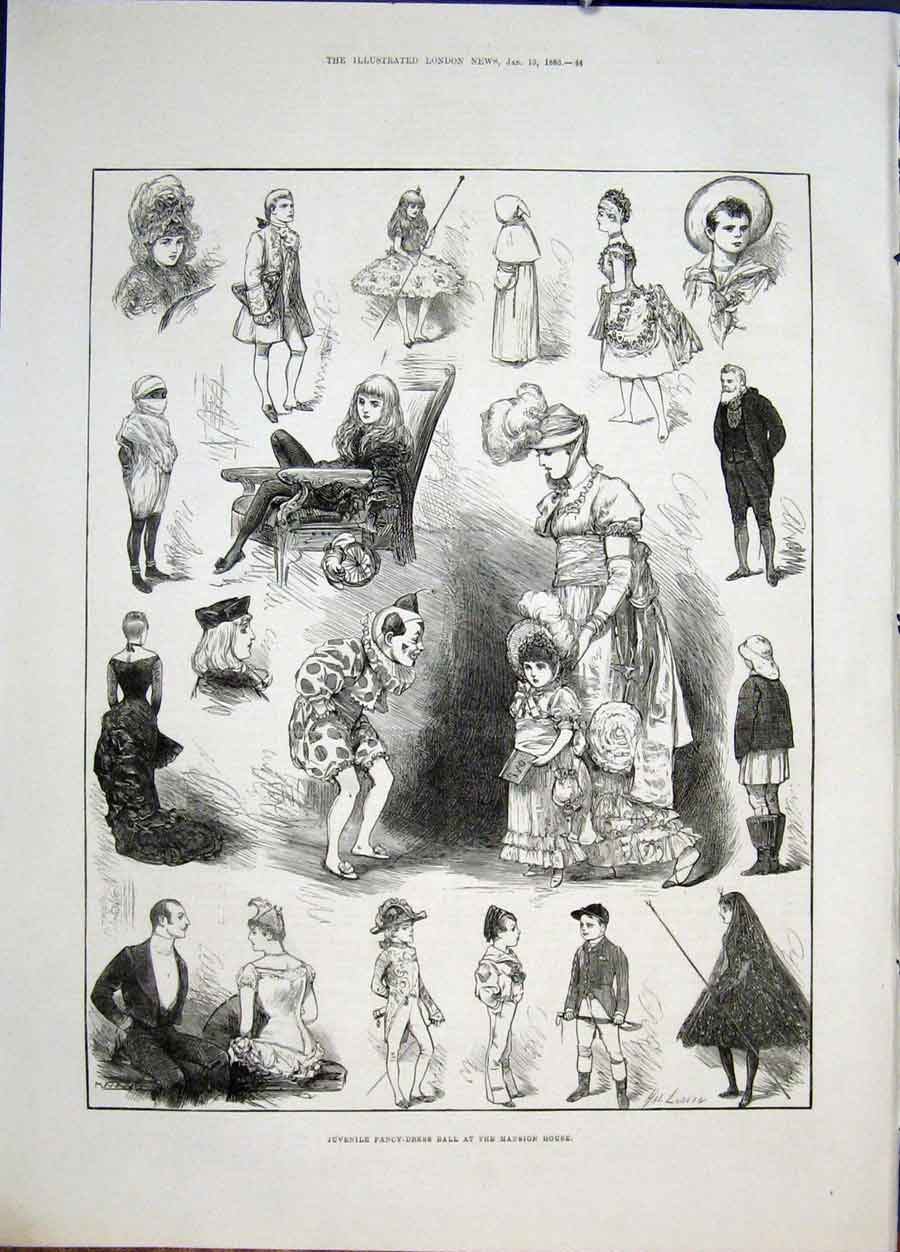 Print Juvenile Fancy Dress Ball Mansion House Sketches 1883 44Maa0 Old Original