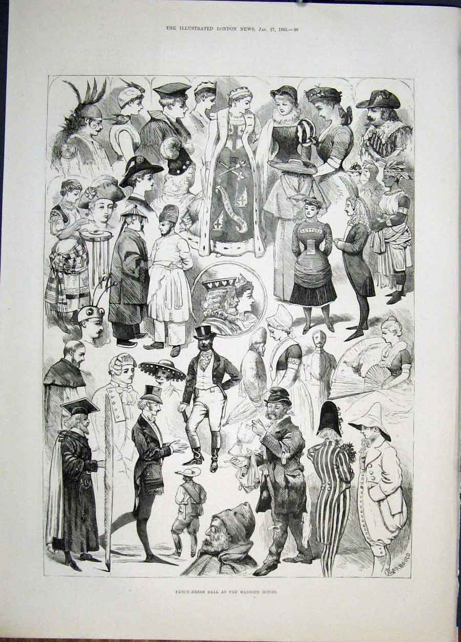 Print Fancy Dress Ball Mansion House Sketches 1883 88Maa0 Old Original