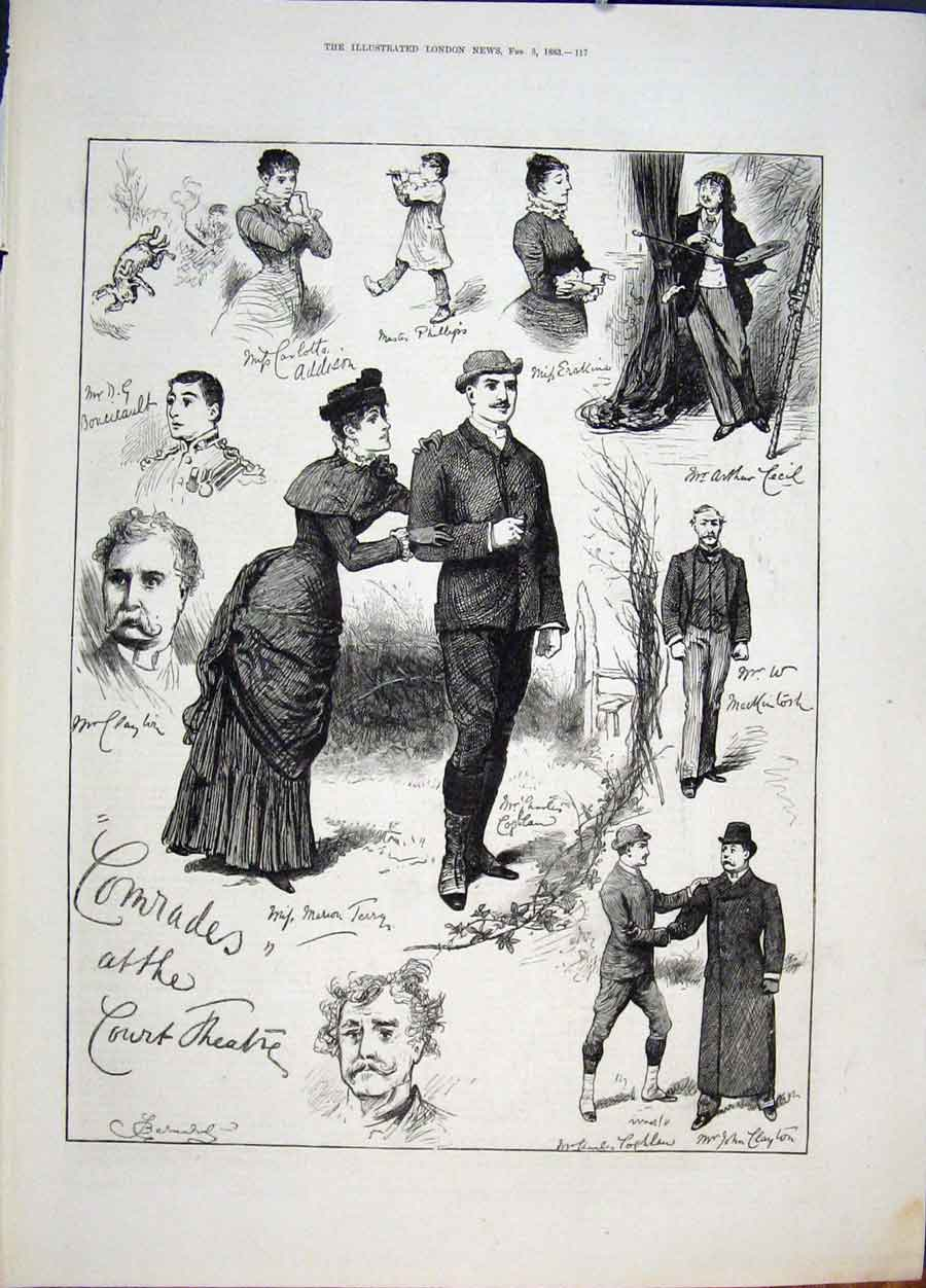 Print Sketches Comrades Court Theatre London 1883 17Maa0 Old Original