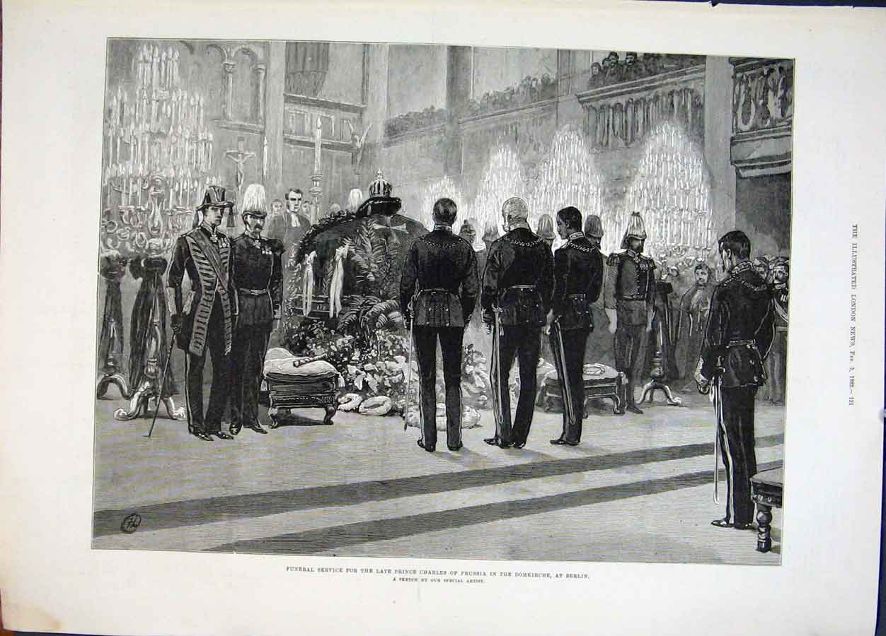 Print Funeral Prince Charles Prussia Domkkirche Berlin 1883 21Maa0 Old Original