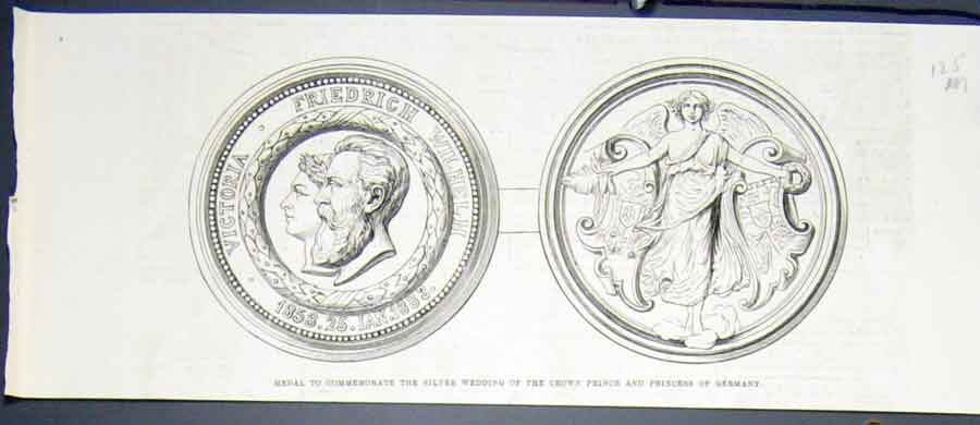 Print Medal Silver Wedding Prince Princess Germany 1883 25Mmaa0 Old Original