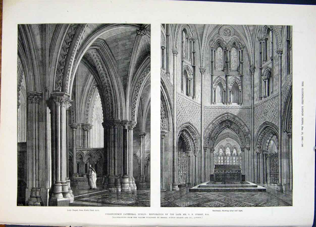 Print Christchurch Cathedral Dublin Ireland Street 1883 60Maa0 Old Original