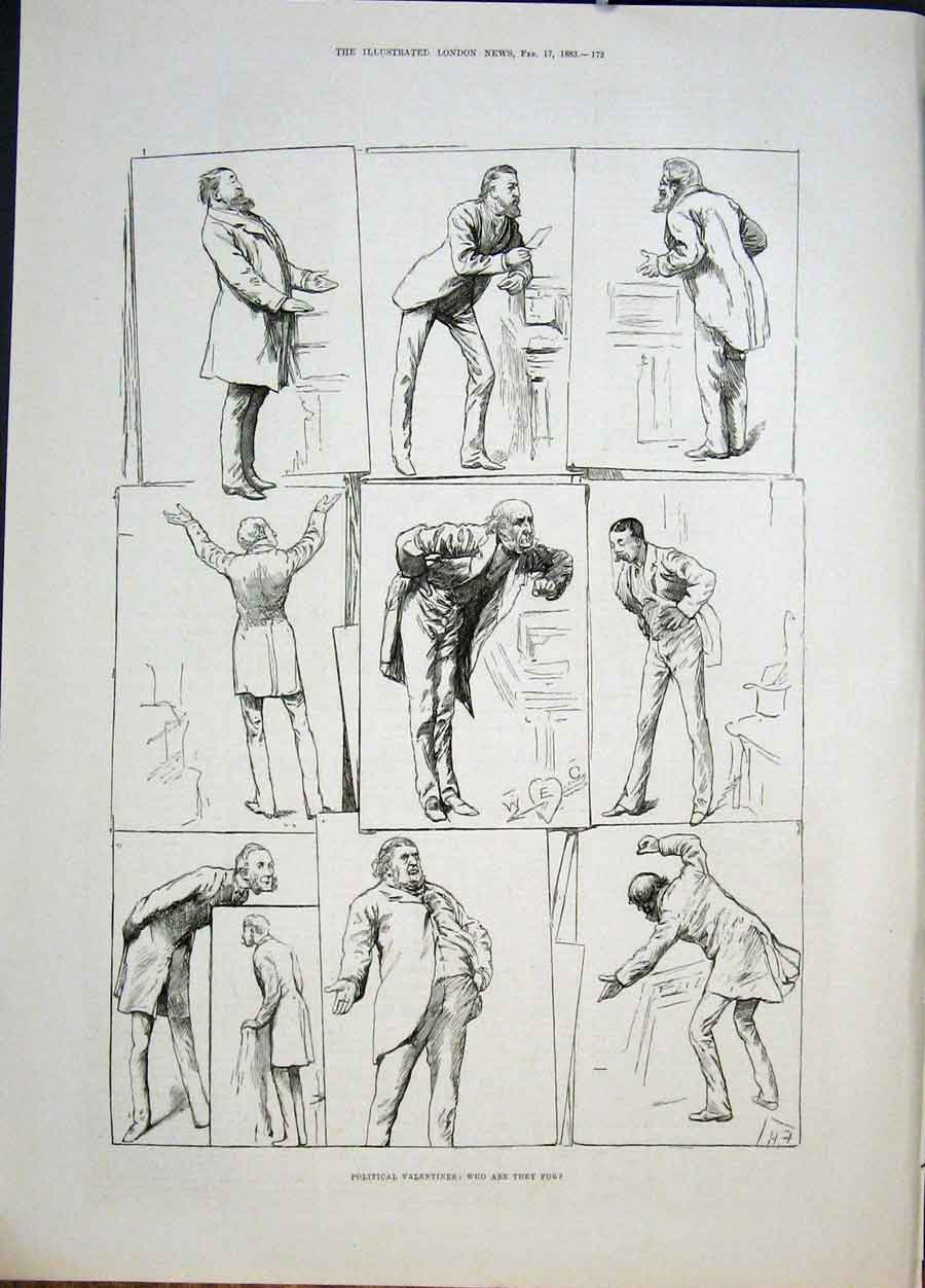 Print Political Valentines Sketches 1883 72Maa0 Old Original