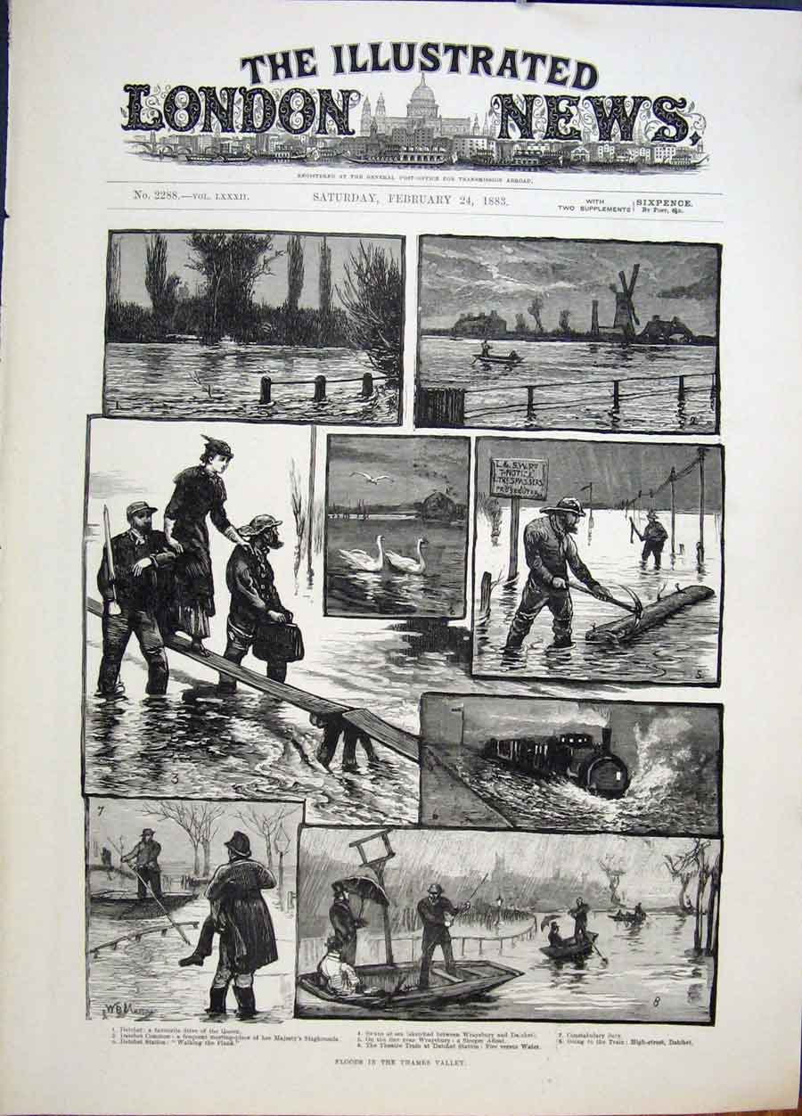 Print Floods Thames Valley London Datchet 1883 86Maa0 Old Original