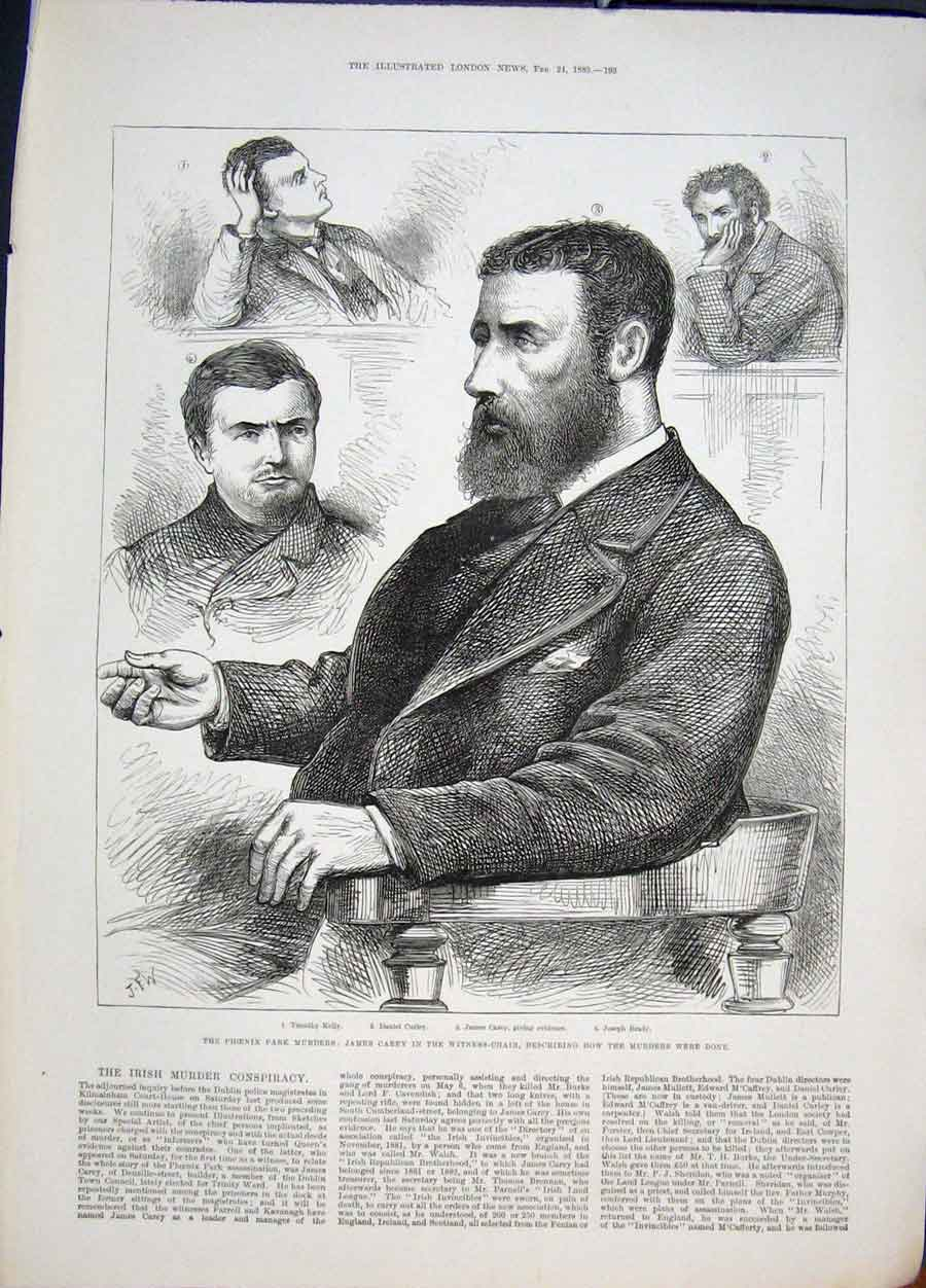 Print Phoenix Park Murders Carey Court Dblin Ireland 1883 93Maa0 Old Original