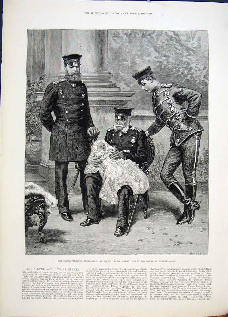 Print Silver Wedding Berlin Hohenzollern 1883 29Maa0 Old Original