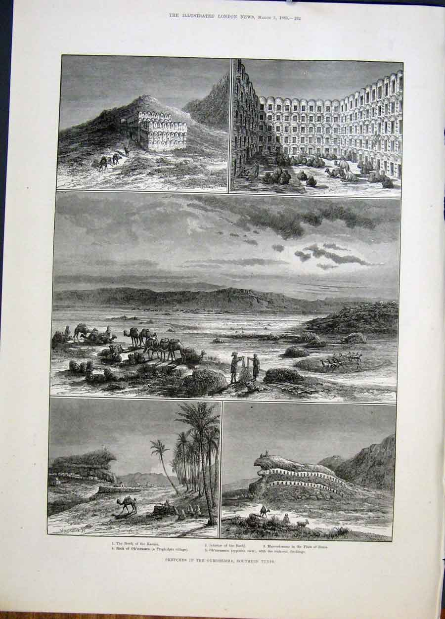 Print Sketches Ourghemma Tunis Tunisia Harvest Village 1883 32Maa0 Old Original