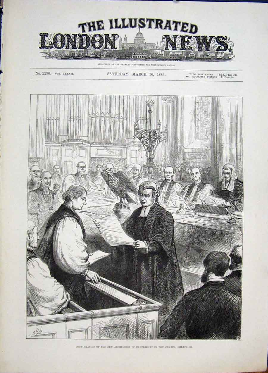Print Archbishop Canterbury Bow Church Cheapside 1883 34Maa0 Old Original