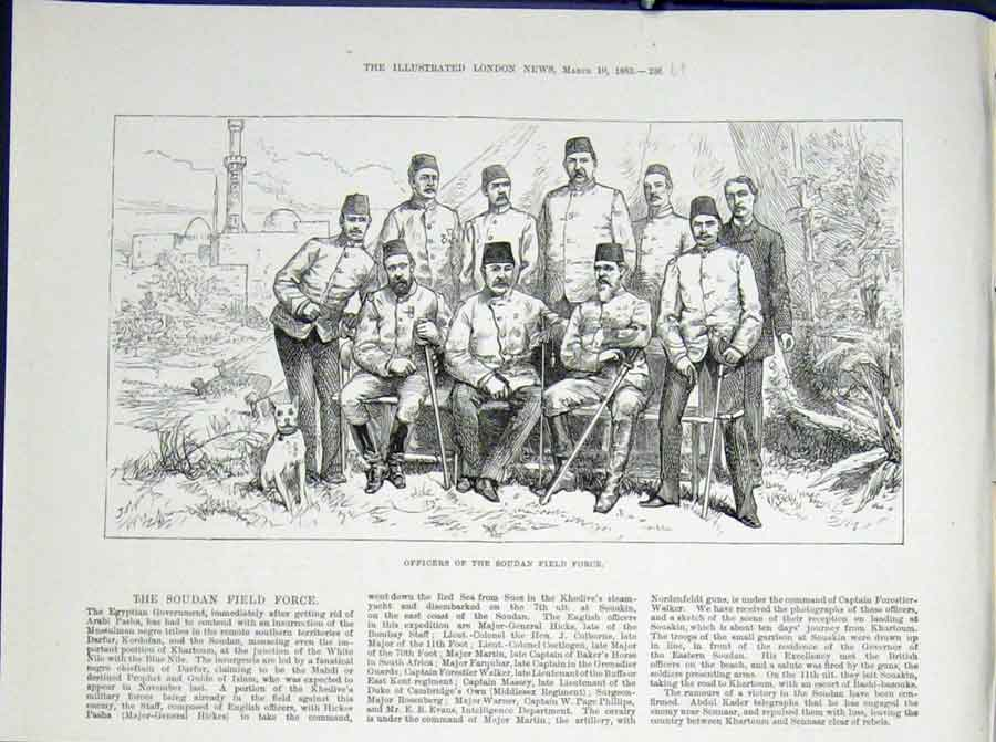 Print Soudan Field Force Officers Egyptian Egypt Africa 1883 36Umaa0 Old Original