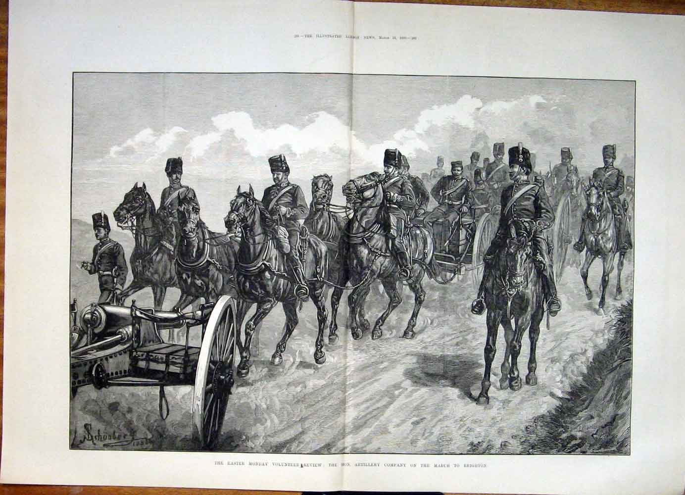 Print Easter Monday Volunteer Review Artillery Brighton 1883 87Tmaa0 Old Original