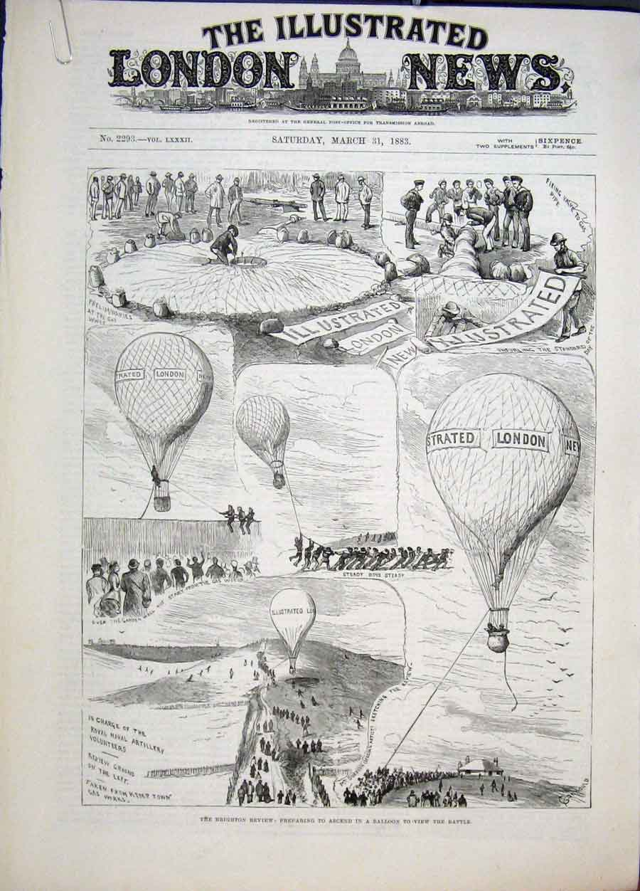 Print Brighton Review Ballooon Battle Gurad Common 1883 00Amaa0 Old Original