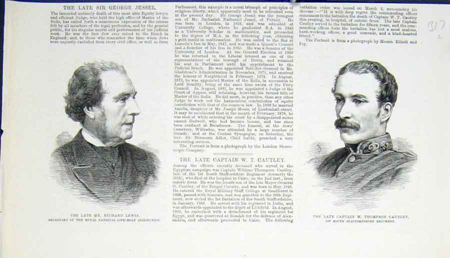 Print Portrait Lewis Life Boat Cautley Regiment 1883 17Lmaa0 Old Original