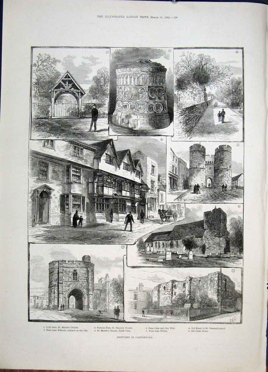 Print Sketches Canterbury Castle Ruins Church 1883 28Maa0 Old Original